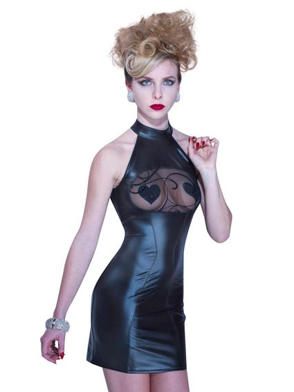 Kunstleder Wetlook Minikleid Becky