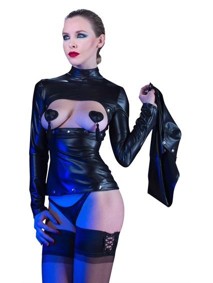 Sale - Kunstleder Wetlook Minikleid Loretta – Bild 5