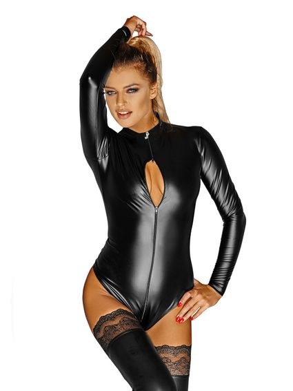 Kunstleder Wetlook Damenbody Suit
