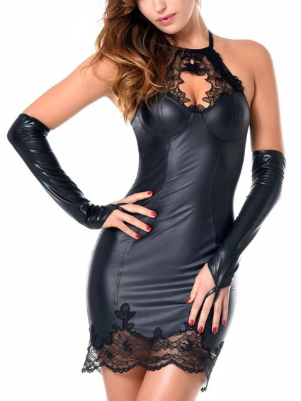 Sale - Wetlook Kunstleder Minikleid Jazlyn