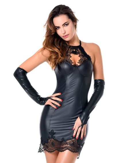 Wetlook Kunstleder Minikleid Jazlyn