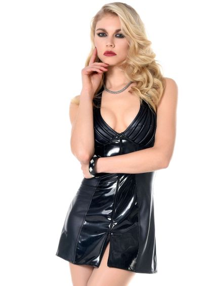 Sale - Wetlook Kunstleder Minikleid Ruby