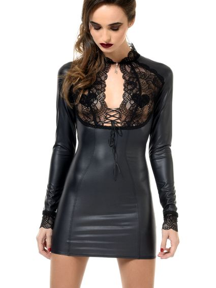 Kunstleder Wetlook Minikleid Elisa