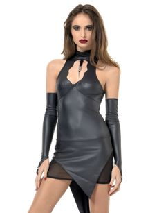 Sale - Kunstleder Wetlook Kleid Bibi 001