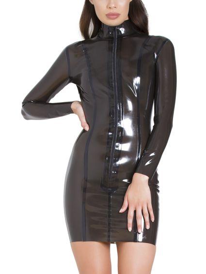 Transparentes Latexkleid schwarz