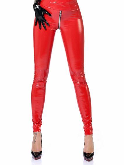 Lack Legging Zipper  - Rot