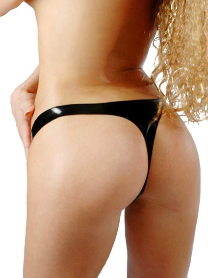 Latex String Tanga - Schwarz