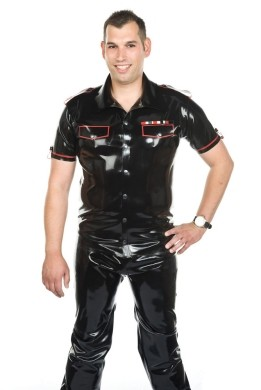 Latex Uniform Shirt - Black with White Details