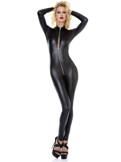 Kunstleder Wetlook Catsuit Overall