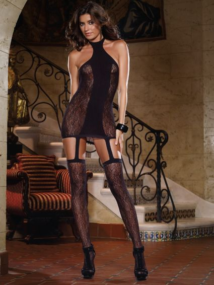 Sale - Straps Minikleid - Naples - Queen Size - Schwarz