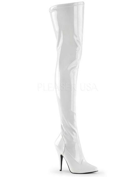 Langer Lackstiefel - Weiss