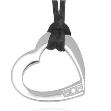 Aviano Diamonts Sterling Silber Herz Anhänger 3 echten Diamanten (0,03 cts.)