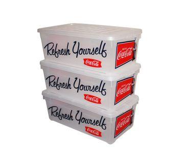 Curver 3er-Set stapelbare Aufbewahrungsboxen/Kisten/Stapelboxen Plastik transparenter Deckel 5,7 L – Bild 1