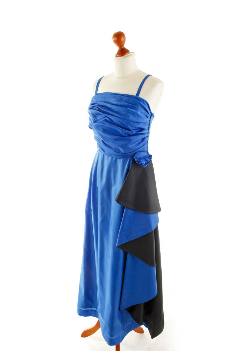 details zu sale vintage abendkleid lang blau ballkleid festlich kleid  blau rüsche boho 38