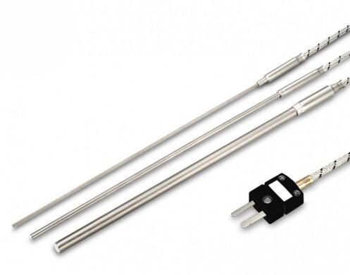 Mantelthermoelement FeCu-Ni Typ J bis 850°C mit Glasseidekabel/ Stecker