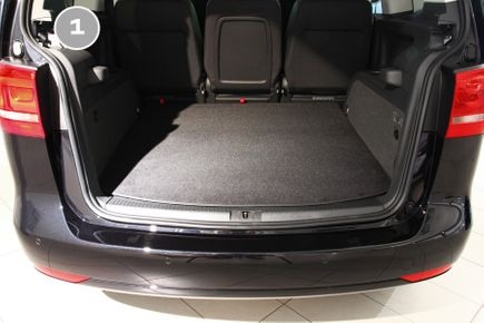 2-part trunk mats with bumper protector fits for VW Sharan 2 II Seat Alhambra 2 II 2010-