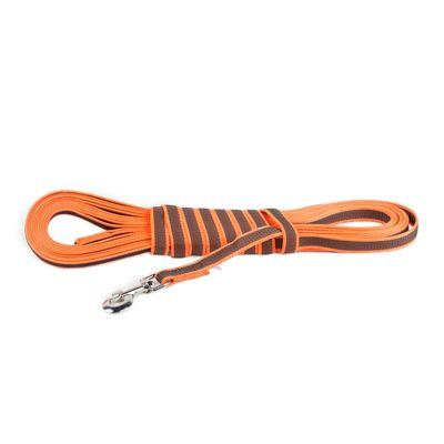 K9 gummierte Sportleine orange 20mm / 10m mit Schlaufe – Bild 1