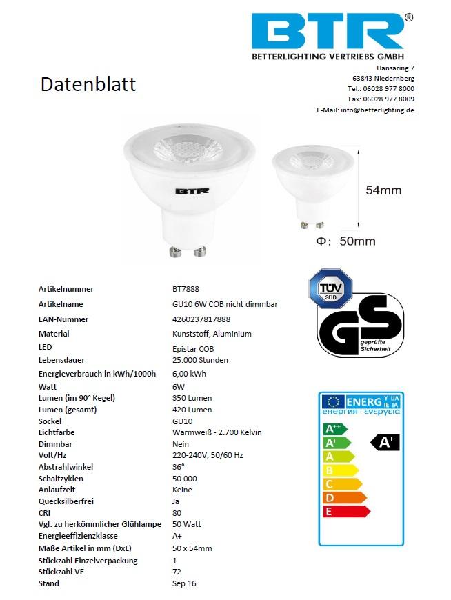 LED Leuchtmittel Spot GU10, BT 7888, 6W COB 350 lm nicht dimmbar Energiesparlampe – Bild 3