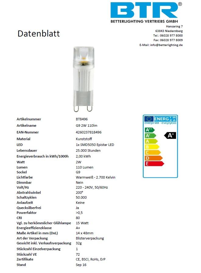 G9 LED bulb 2 Watt, 110Lumen Energiesparlampe Leuchtmittel – Bild 3