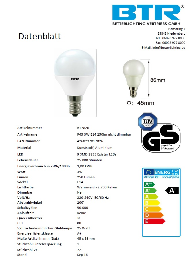 6er Set LED Leuchtmittel P45, Leistung 3W, E14, 250 lm, 9 SMD, Energiesparlampe – Bild 5