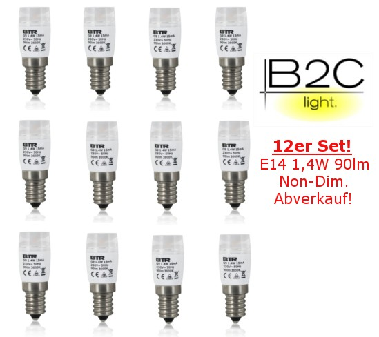 Dekolampe E14 LED 1,4W 90lm Non Dimmable Energiesparlampe 12er Set – Bild 1