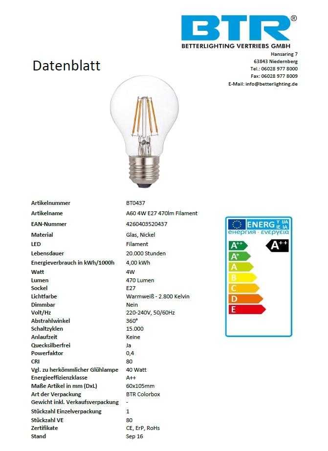 BT0437, A60 4W E27 470lm Filament – Bild 3