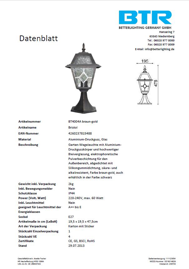 2er Set Bristol BT4004A schwarz-gold inkl. Leuchtmittel – Bild 5