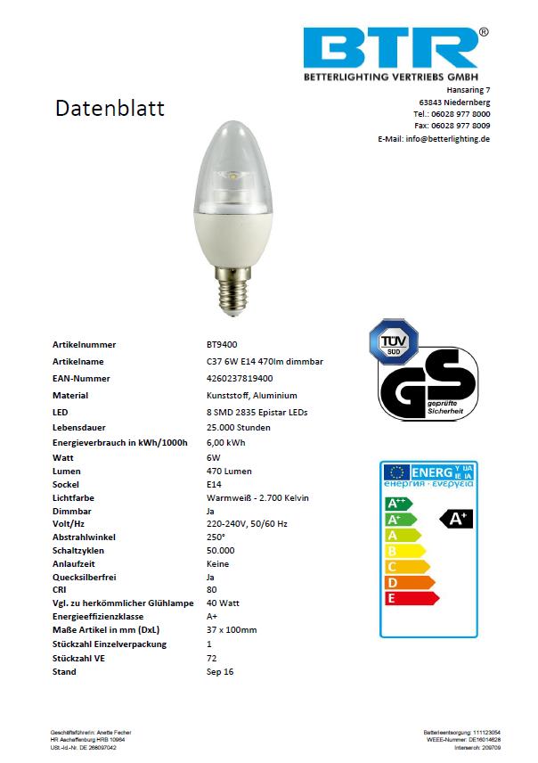 LED Leuchtmittel BT9400SI C37, 6W, 470lm, E14, Dimmbar, Energiesparlampe – Bild 2