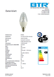 LED Leuchtmittel BT9400SI C37, 6W, 470lm, E14, Dimmbar, Energiesparlampe 2