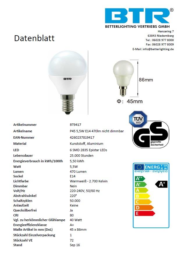 20er Set LED Leuchtmittel BT9417SI P45, 5,5W, E14, 470lm Non-Dim, warmweiß, Energiesparlampe  – Bild 2