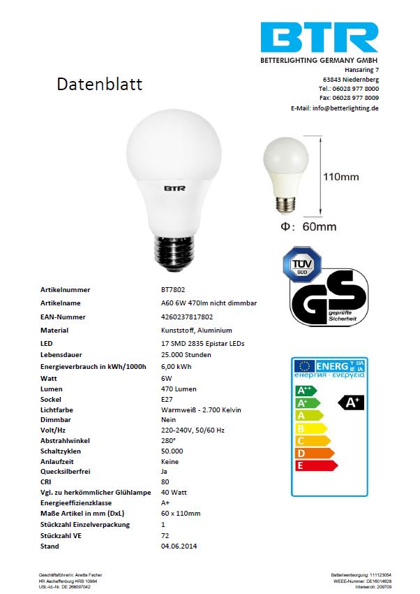 LED Leuchtmittel BT7802SI A60, Leistung 6W, E27, 470 lm, nicht dimmbar, 17 SMD, Energiesparlampe – Bild 3