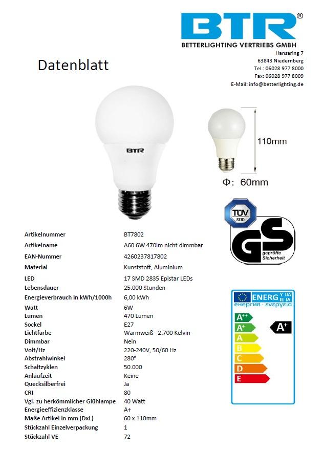 12er Set LED Leuchtmittel BT7802SI A60, Leistung 6W, E27, 470 lm, 17 SMD, Energiesparlampe – Bild 4