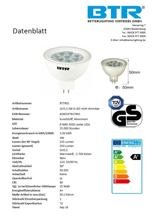 LED Leuchtmittel GU5,3 Leistung 3W  250 lm, 8 LED Energiesparlampe – Bild 3
