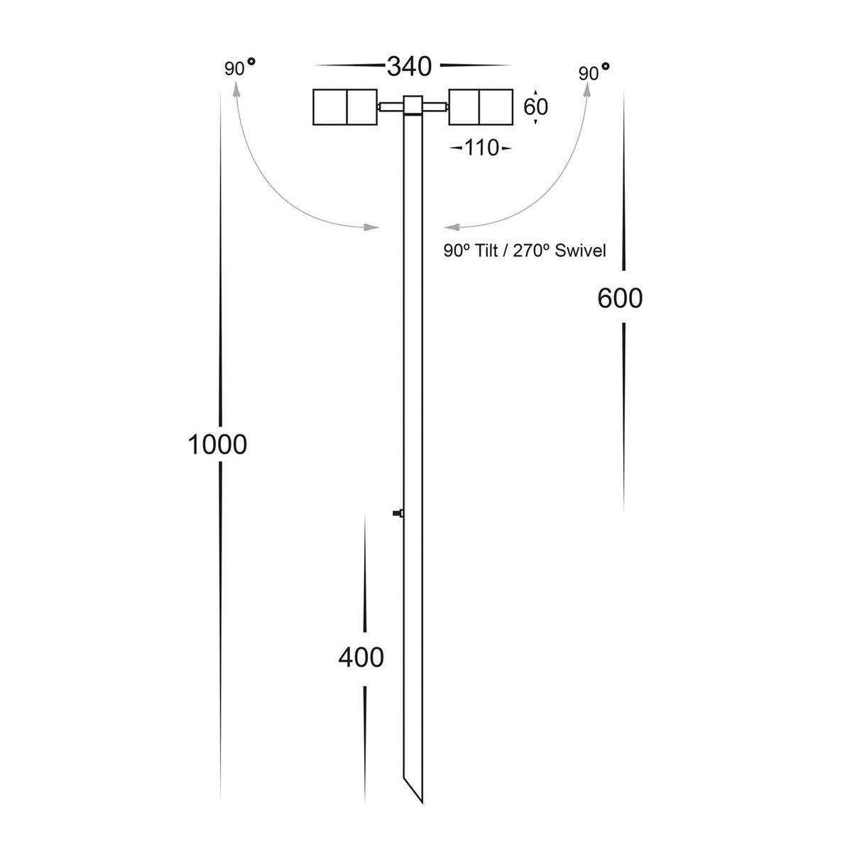 HV1405-CP -Tivah Copper Double Adjustable 2 x 5w LED Spike Light – Bild 2