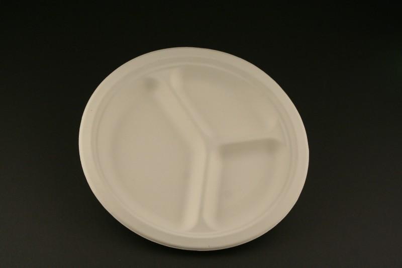 Bio Geschirr 3-geteilter Teller P-06/50 26cm Einweggeschirr Teller Einwegteller – Bild 1