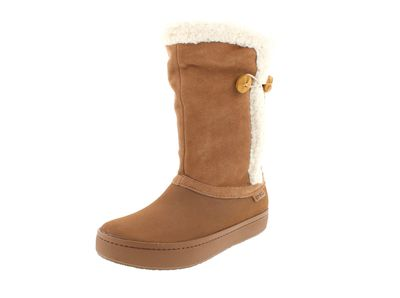 CROCS - Stiefel MODESSA SUEDE BUTTON BOOT - bronze