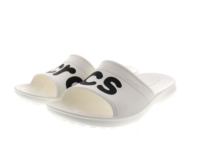 CROCS Pantoletten - CLASSIC GRAPHIC SLIDE - white black