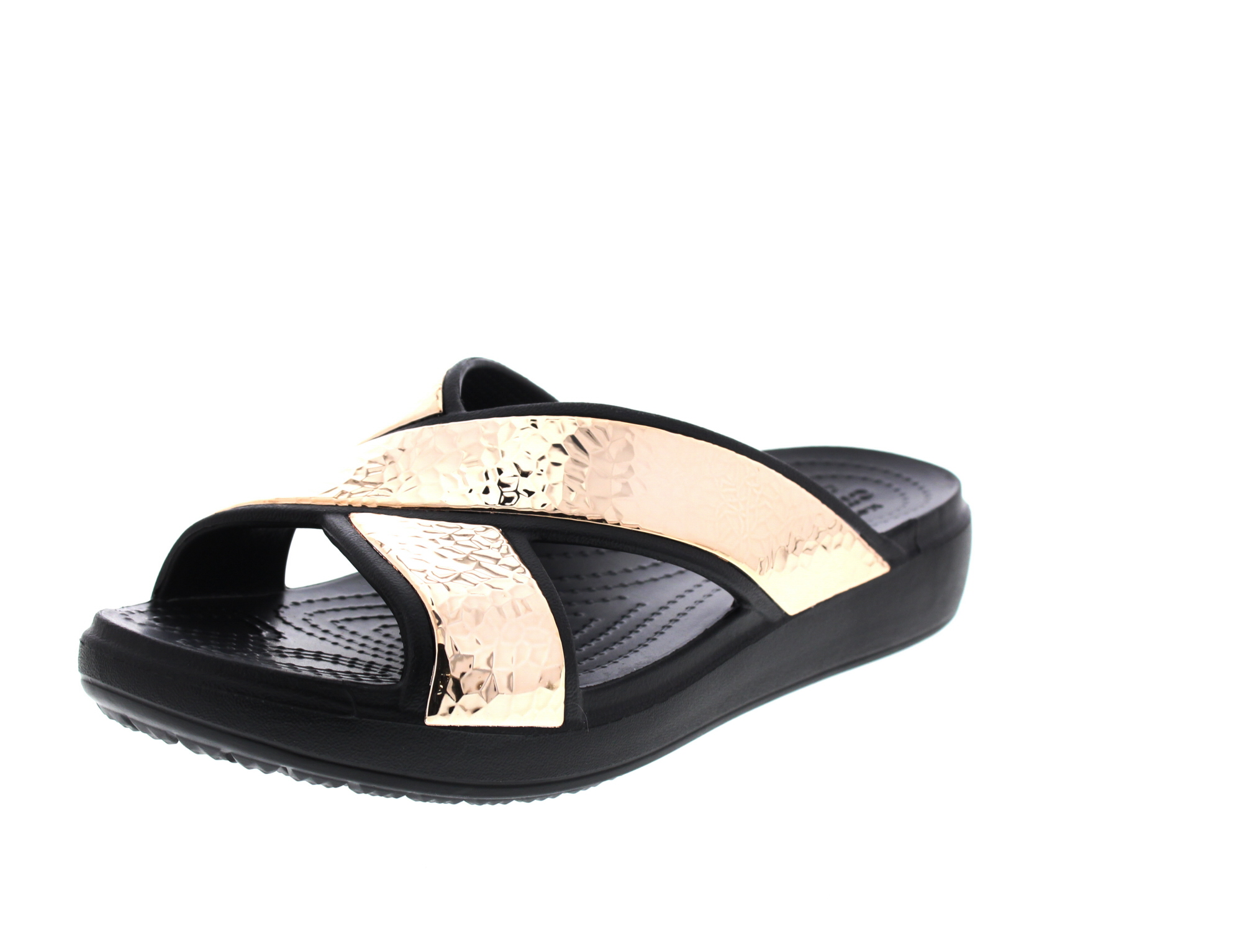 CROCS - SLOANE HAMMERD XStrap Slide - black rose gold0-6603