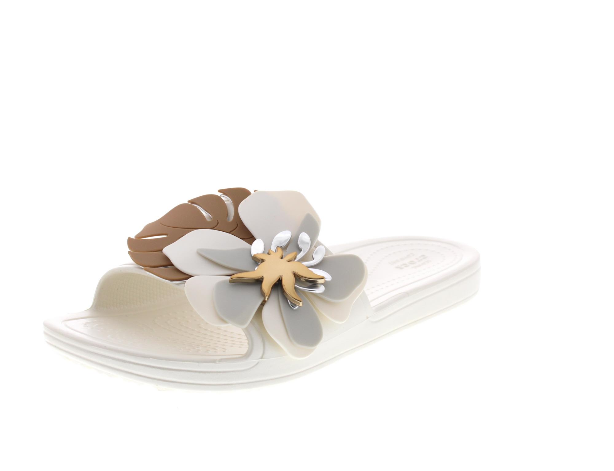 CROCS Pantoletten SLOANE BOTANICAL FLOWER SLIDE oyster0-6605