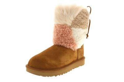 UGG Stiefel - CLASSIC SHORT PATCHWORK FLUFF - chestnut preview 1