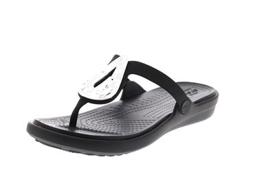 CROCS - Zehentrenner SANRAH LIQUID METALLIC FLIP black preview 1