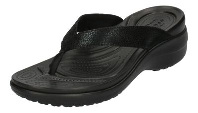 CROCS Schuhe CAPRI METALLIC TEXTURE WEDGE FLIP - black