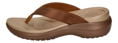 CROCS Schuhe CAPRI METALLIC TEXTURE WEDGE FLIP - bronze preview 4
