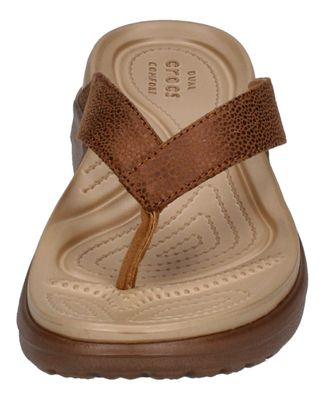 CROCS Schuhe CAPRI METALLIC TEXTURE WEDGE FLIP - bronze preview 3