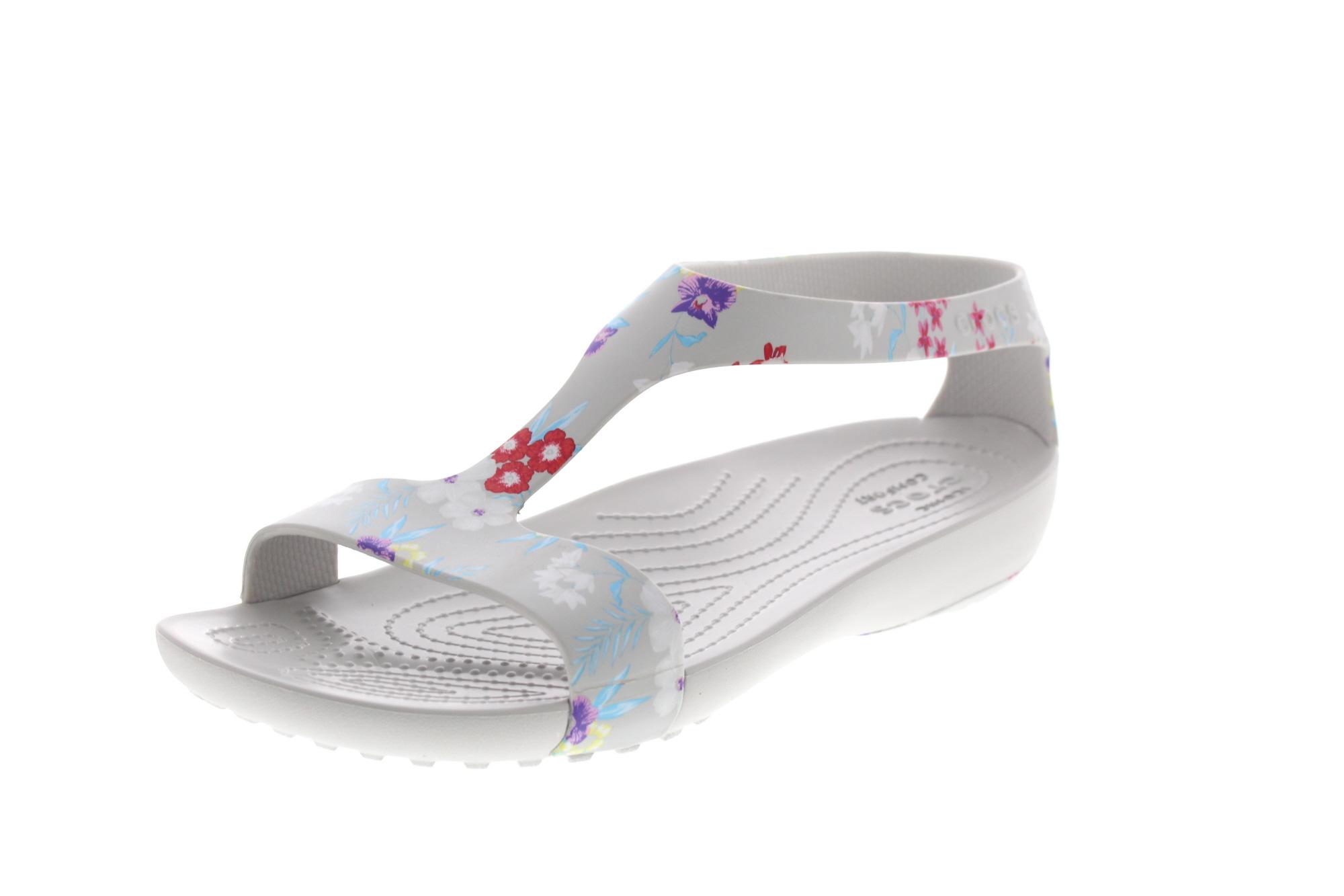 Crocs Serena Graphic Sandal Tropical Floral Pearl White