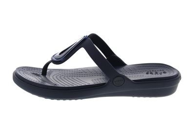 CROCS Zehentrenner - SANRAH BEVELED FLAT FLIP - navy preview 2
