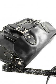 modamoda de - ital Handtasche aus Leder in Schwarz W67S – Bild 5