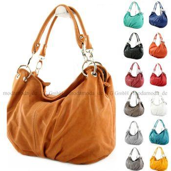 modamoda de - ital Damenhandtasche aus Nappaleder IT40