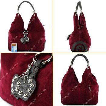 modamoda de - W38 -  ital Handtasche aus Wildleder  – Bild 5