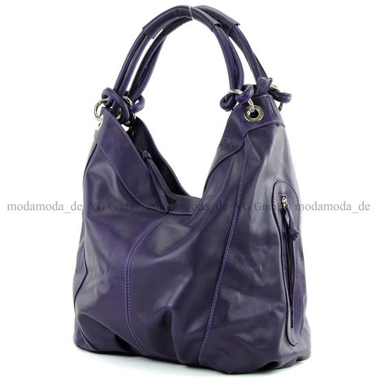 modamoda de - ital. Ledertasche Damenhandtasche Schultertasche Leder + Nappaleder Z18, Präzise Farbe:Dunkellila modamoda de - Made in Italy